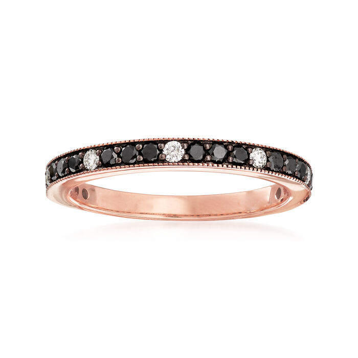 .47 ct. t.w. Black and White Diamond Band in 14kt Rose Gold