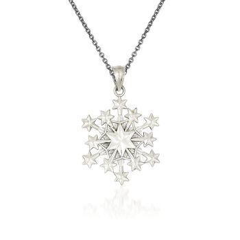 """14kt White Gold Snowflake Pendant Necklace. 18"""", , default"""
