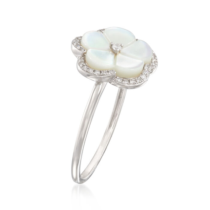 Mother-Of-Pearl Floral Ring with Diamond Accents in 14kt White Gold
