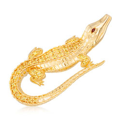 .70 ct. t.w. Citrine Alligator Pin Pendant With Garnet Accent in 18kt Gold Over Sterling  , , default