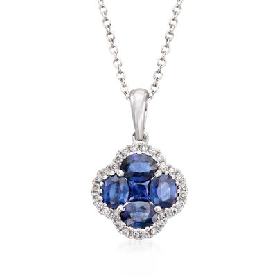 Gregg Ruth 1.43 ct. t.w. Sapphire and .14 ct. t.w. Diamond Clover Pendant Necklace in 18kt White Gold, , default
