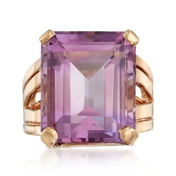 C. 1950 Vintage 17.50 Carat Amethyst Ring in 14kt Yellow Gold. Size 5.5, , default