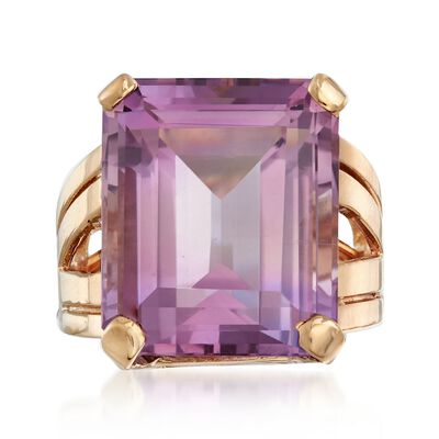 C. 1950 Vintage 17.50 Carat Amethyst Ring in 14kt Yellow Gold, , default