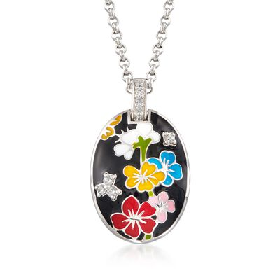 "Belle Etoile ""Constellations: Sakura"" Multicolored Enamel and .20 ct. t.w. CZ Pendant in Sterling Silver, , default"