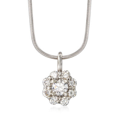 C. 1990 Vintage .75 ct. t.w. Diamond Flower Pendant Necklace in 14kt White Gold, , default
