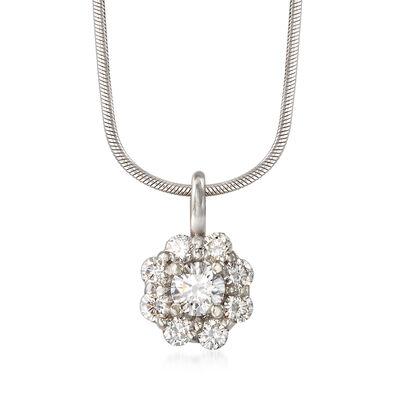 C. 1990 Vintage .75 ct. t.w. Diamond Flower Pendant Necklace in 14kt White Gold, , default