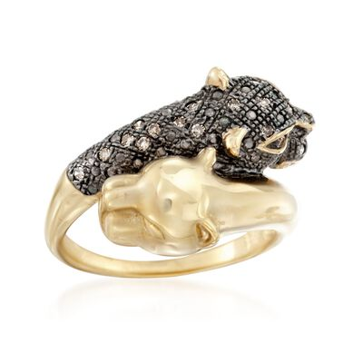 .11 ct. t.w. Brown Diamond Panther Bypass Ring in 14kt Gold Over Sterling, , default