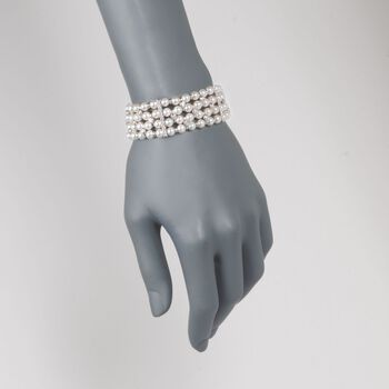 """C. 1990 Vintage 5.5mm Cultured Pearl and 2.70 ct. t.w. Diamond Bracelet in 18kt White Gold. 7.25"""", , default"""