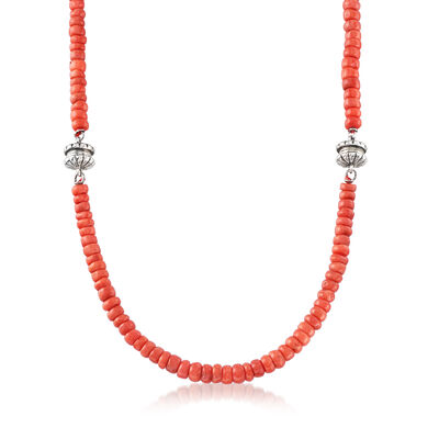 C. 1990 Vintage Jewelry Set: Coral Beaded Necklace and Bracelet, , default