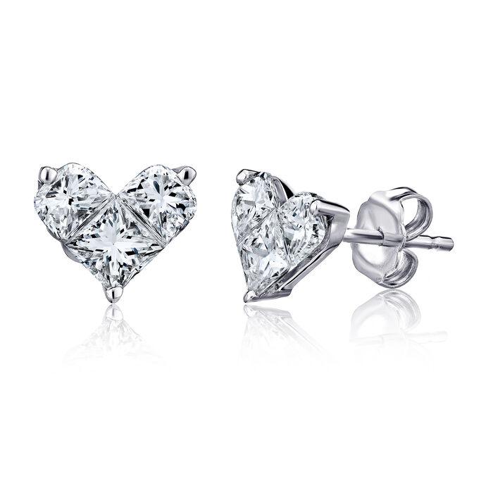 1.44 ct. t.w. Diamond Heart Earrings in 18kt White Gold