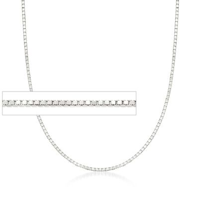 1mm 14kt White Gold  Box Chain Necklace, , default