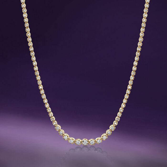 3.00 ct. t.w. Graduated Diamond Tennis Necklace in 14kt Yellow Gold