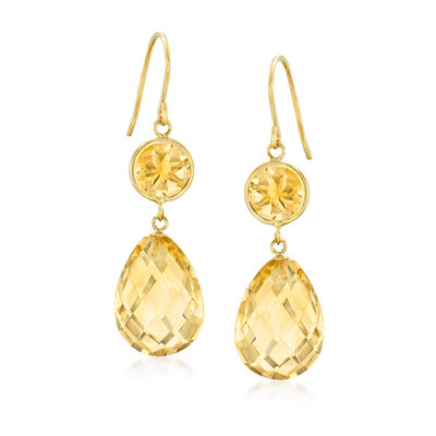 19.00 ct. t.w. Citrine Drop Earrings in 14kt Yellow Gold, , default