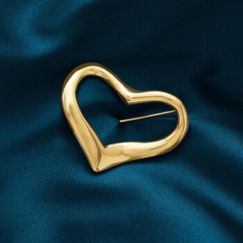 Italian 18kt Yellow Gold Open-Space Heart Pin, , default