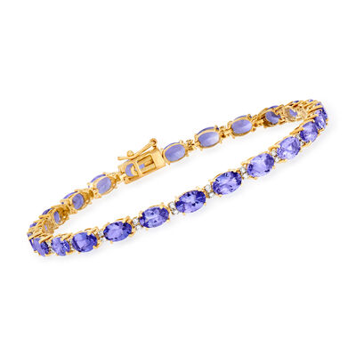 10.00 ct. t.w. Tanzanite and .30 ct. t.w. Diamond Tennis Bracelet in 14kt Yellow Gold