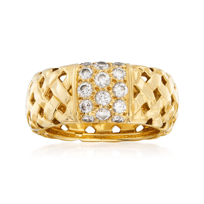 C. 1995 Vintage Tiffany Jewelry .60 ct. t.w. Diamond Basketweave Ring in 18kt Yellow Gold. Size 6
