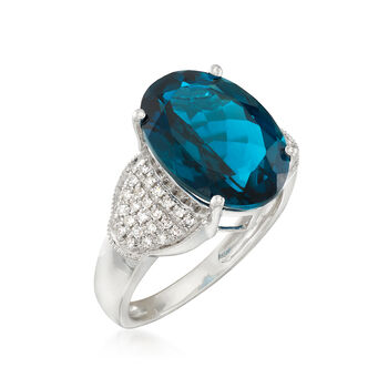 6.75 Carat London Blue Topaz and .23 ct. t.w. Diamond Ring in 14kt White Gold