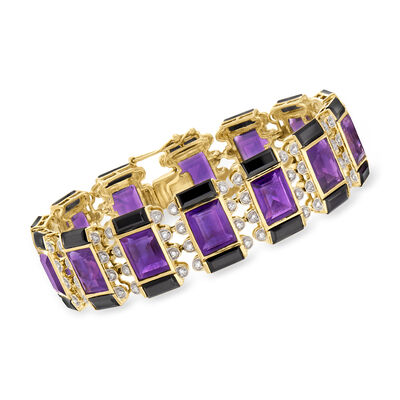Black Onyx and 30.00 ct. t.w. Amethyst Bracelet with .56 ct. t.w. Diamonds in 14kt Yellow Gold