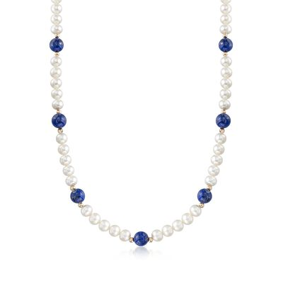 Lapis and 6.5-7mm Cultured Pearl Necklace with 14kt Yellow Gold, , default