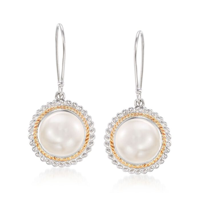 11mm Cultured Pearl Drop Earrings in 14kt Yellow Gold and Sterling Silver, , default