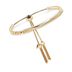 Italian 18kt Yellow Gold Over Sterling Silver Beaded Bolo Bracelet, , default