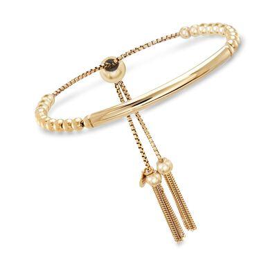 Italian 18kt Yellow Gold Over Sterling Silver Beaded Bolo Bracelet, , default