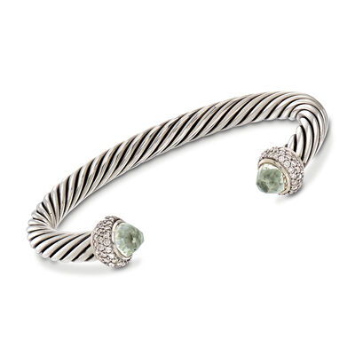 C. 2000 Vintage David Yurman 4.00 ct. t.w. Green Prasiolite and 1.65 ct. t.w. Diamond Cuff Bracelet in Sterling, , default