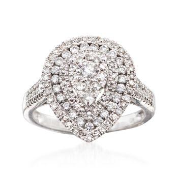 1.00 ct. t.w. Diamond Teardrop Illusion Ring in 14kt White Gold, , default