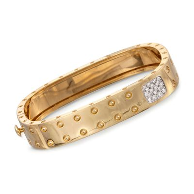 "Roberto Coin ""Pois-Moi"" .28 ct. t.w. Diamond Square Bangle Bracelet in 18kt Yellow Gold, , default"