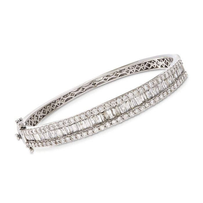"""5.00 ct. t.w. Baguette and Round Diamond Bangle Bracelet in 14kt White Gold. 7"""""""