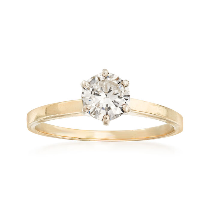 C. 1980 Vintage .75 Carat Diamond Solitaire Ring in 14kt Yellow Gold. Size 8, , default