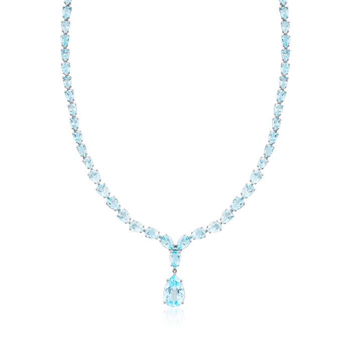 39.25 ct. t.w. Blue Topaz Drop Necklace in Sterling Silver