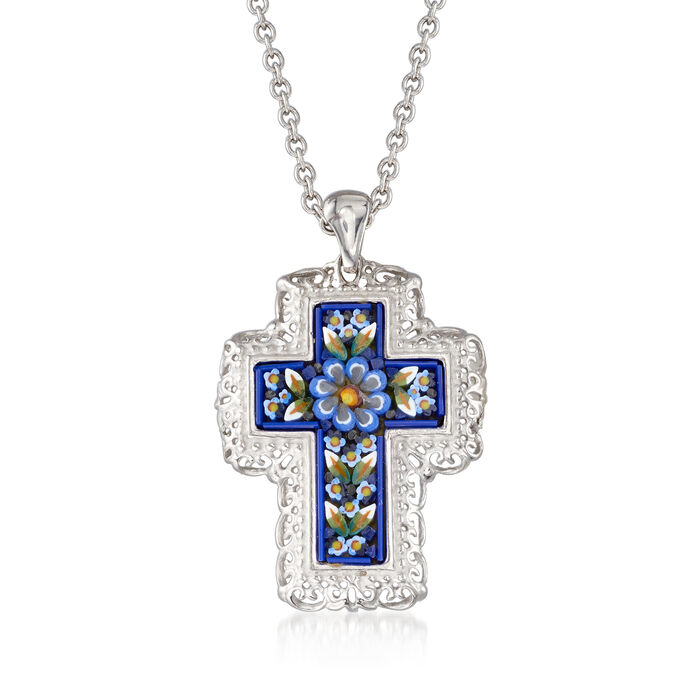 Italian Murano Glass Mosaic Floral Cross Pendant Necklace in Sterling Silver