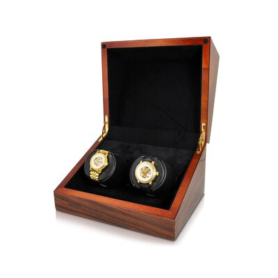 """Sparta Deluxe"" Teak Finish Double Watch Winder with Cover by Orbita, , default"