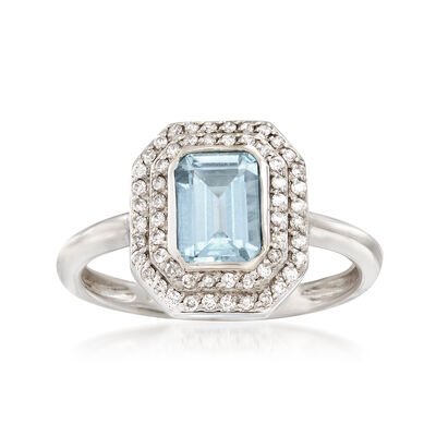 .90 Carat Aquamarine and .20 ct. t.w. Diamond Ring in 14kt White Gold, , default