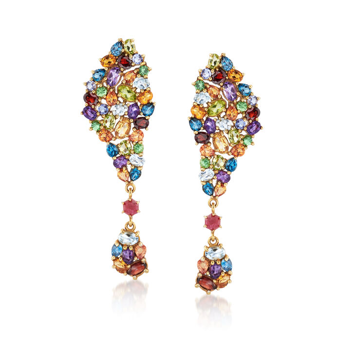 13.60 ct. t.w. Multi-Stone Cluster Drop Earrings in 14kt Gold Over Sterling, , default
