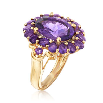 7.00 ct. t.w. Amethyst Ring in 18kt Yellow Gold Over Sterling Silver. Size 6, , default