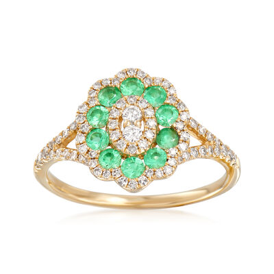 .35 ct. t.w. Diamond and .30 ct. t.w. Emerald Ring in 14kt Yellow Gold, , default