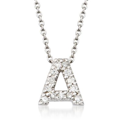 "Roberto Coin ""Love Letter"" Diamond Accent Initial ""A"" Necklace in 18kt White Gold, , default"