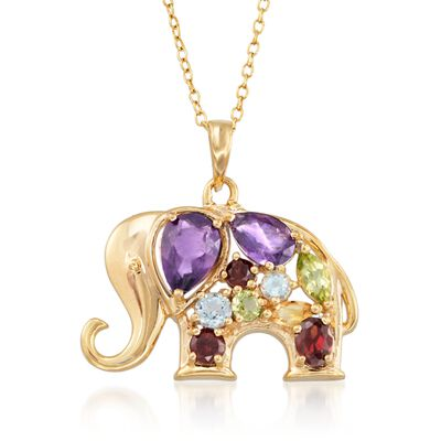1.36 ct. t.w. Multi-Stone Elephant Pendant Necklace in 18kt Gold Over Sterling, , default