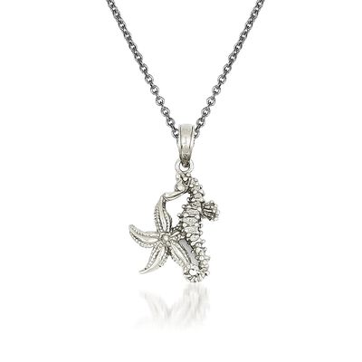14kt White Gold Seahorse Pendant Necklace