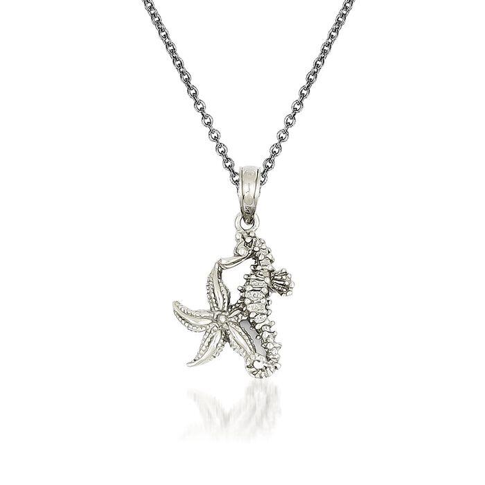 """14kt White Gold Seahorse Pendant Necklace. 18"""", , default"""