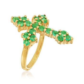 1.20 ct. t.w. Zambian Emerald Cross Ring in 18kt Gold Over Sterling
