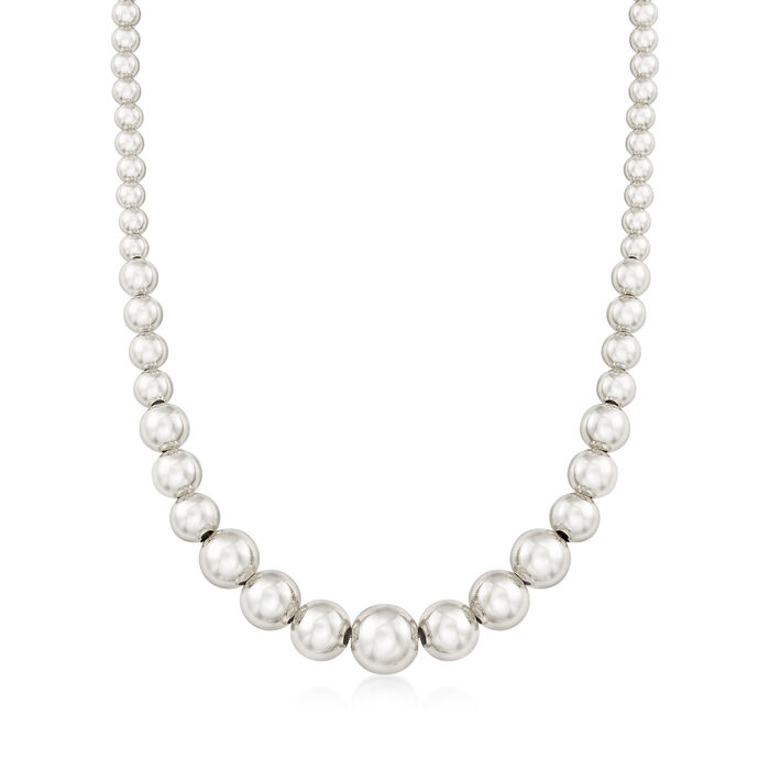 Italian 6-14mm Sterling Silver Graduated Bead Necklace