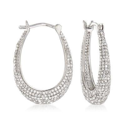 .95 ct. t.w. Pave Diamond Oval Hoop Earrings in Sterling Silver