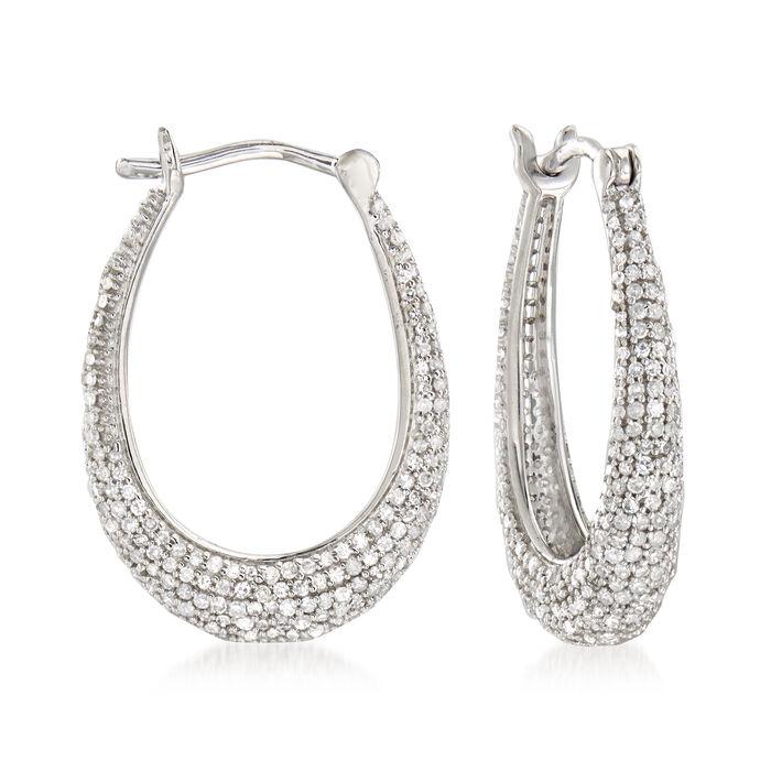 """.95 ct. t.w. Pave Diamond Oval Hoop Earrings in Sterling Silver. 3/4"""""""
