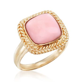 11mm Square Pink Opal Ring in 14kt Yellow Gold, , default