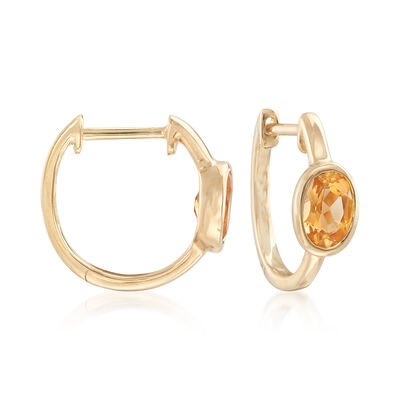 .80 ct. t.w. Bezel-Set Oval Citrine Hoop Earrings in 14kt Yellow Gold, , default