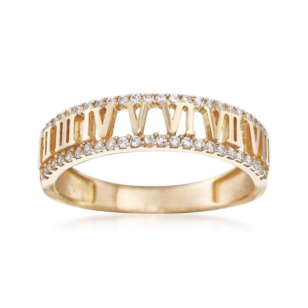 88057b68a 25 ct. t.w. CZ Roman Numeral Ring in 14kt Yellow Gold | Ross-Simons