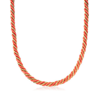 C. 1980 Vintage Rossetti Coral Beaded Necklace in 18kt Yellow Gold, , default